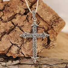 925 Sterling Silver Antiqued Cross with Marcasite and CZ Stones Pendant Necklace