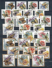 "Fujeira ""Butterflies, Flowers""Complete imperf.set of  27 stamps  MI#159-185  MNH"