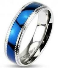 Stainless Steel Blue IP Wedding Band Ring