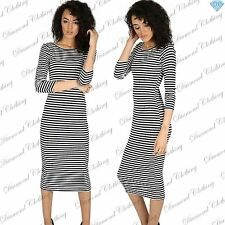 Womens Midi Scoop Neck Party Dresses Ladies Bodycon Striped Stretch Long Sleeve