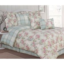 Twin Full Queen King Bed Pink Blue Green Floral Plaid 7 pc Comforter Set Bedding