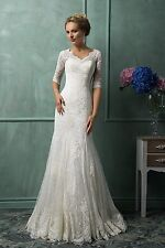 Lace Wedding Dress V-Neck Half Sleeve Button Sweep Train Applique Mermaid W1880