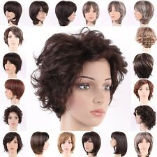 Short Hair Wigs Boycut Synthetic Costume Full Head Wig Curly Straight 28 Styles