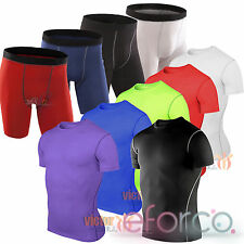 Mens Compression T-Shirt Top Sport Base Layers Short Running Pants Tracksuit NEW