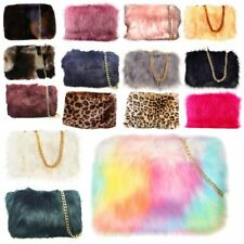LADIES DESIGNER PLAIN FAUX FUR FLUFFY CLUTCH BAG WITH SILVER CHAIN STRAP HANDBAG