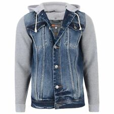 KAM DENIM JACKET WITH  JERSEY HOOD AND SLEEVES 2XL3XL4XL5XL6XL7XL8XL