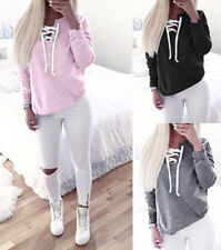 Autumn Women Long Sleeve Sweatshirt Jumper Sweater Pullover Lace Up Collar Coat