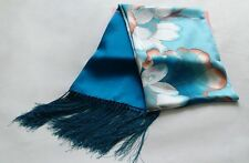 Women 5.7 ft long China silk scarf shawl Blue & White Porcelain scarves Lotus