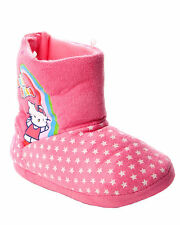 GIRLS OFFICIAL HELLO KITTY PINK TOUCH FASTENING SLIPPERS BOOTIES UK SIZE 10-12