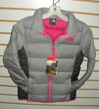 THE NORTH FACE GIRLS ANDES DOWN WINTER JACKET- CHQ7-SILVER/GREY/PINK-XS,S,M,L,XL