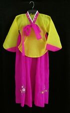 Girls Traditional Korean Ceremonial Wedding HANBOK Pink Yellow Dress M 10 12