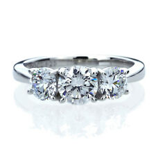 6mm Platinum Plated Silver 2ct CZ Three Stone Wedding Engagement Ring set