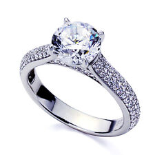3.5mm Platinum Plated Silver 2ct CZ Exquisite Wedding Engagement Ring set