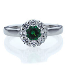 7.5mm Platinum Plated Silver 1ct Emerald CZ Illusion Wedding Engagement Ring set