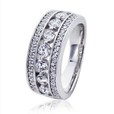 8mm Platinum Plated Sterling Silver 1ct Round CZ Wedding Engagement Ring set