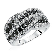 11mm Rhodium Plated Sterling Silver Wedding Ring Black White CZ Engagement Band