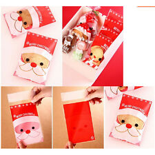 100Pcs Christmas Santa Cellophane Party Treat Candy Biscuits Gift Bags JXUK