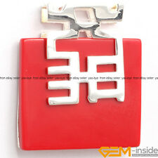 36mm Square Gemstone White Tibetan Silver Base Jewelry Charm Pendant Gift