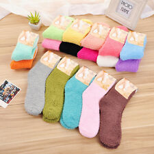 Women Girls Winter Bed Floor Socks Pure Candy Color Fluffy Warm Soft Thick Sale