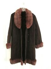 Vtg 1970s Genuine Suede Huge Fur Collar Faux Shearling Lined Boho Hippie Coat