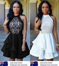 Sexy Black White Layered Nude Illusion Sultry Cocktail Party Skater Dress 8-16