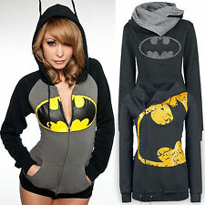 Womens Batman Print Hoodie Sweatshirt Hooded Warm Coat Jacket Jumper Pullover