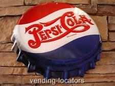 Pepsi Cola Embossed Metal Tin Bottle Cap Vintage Style Sign Double Dot New