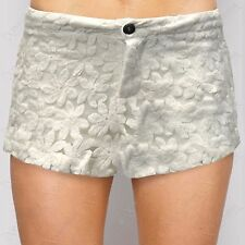 NEW WOMENS CROCHET MESH DAISY PRINT SHORTS LADIES LACE HOT PANTS MID WAIST LOOK
