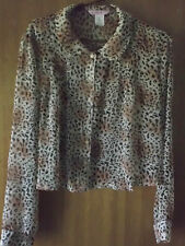 Lovely Leopard Print Button Front Shirt LS Sheer Top Blouse by Supre - Size M