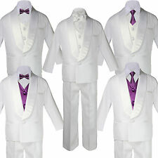 Kid White Satin Shawl Lapel Suits Tuxedo EGGPLANT Satin Bow Necktie Vest Set