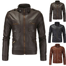Men's Stylish Slim Fit PU Leather Coat Outerwear Motorcycle Biker Jackets NEW
