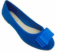 WOMENS BLUE BOW FAUX SUEDE FLAT DOLLY BALLET PUMPS BALLERINA SHOES LADIES SIZE