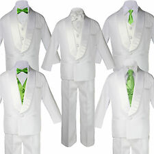 Baby White Satin Shawl Lapel Suits Tuxedo LIME Satin Bow Necktie Vest Set