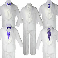 Baby White Satin Shawl Lapel Suits Tuxedo PURPLE Satin Bow Necktie Vest Set