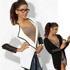 Women style Leather black and white long-sleeved solid color cardigan jackets