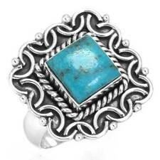 925 Sterling Silver Women Jewelry Natural Turquoise Gemstone Ring Size 8 cg36271