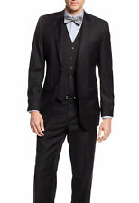 Ralph Lauren Slim Fit Solid Black Two Button Three Piece Wool Suit