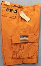 RALPH LAUREN DENIM SUPPLY Men ORANGE USA FLAG MILITARY CARGO SHORTS NWT  30  31