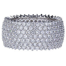 Fine 11mm Rhodium Plated Silver 7 Layer Row CZ Pave Set Eternity Band Ring