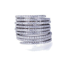 Fine 17mm Rhodium Plated Silver Stackable 3 Rings In The Back by Hinges CZ Ring