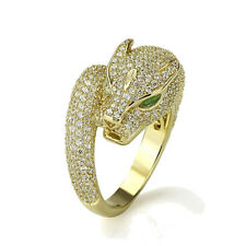 Fine 16mm 14K Yellow Gold Plated Silver Puma CZ Pave Setting Right Hand Ring