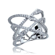 Fine 17mm Rhodium Plated Silver CZ Gradation Setting Intertwined Right Hand Ring