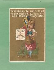 STAMP Of BELGIUM, FLAG, GIRL On J. S. KIRK SOAP Victorian Trade Card