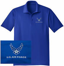 NEW US Air Force Embroidered Wicking DRYFIT Royal Blue Polo Shirt -Free Shipping