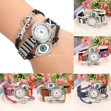 6 Color Women Handmade Bracelet Watch Rhinestone Round Dial Quartz EN24H