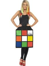 Adult 80s Retro Rubiks Cube Puzzle Ladies Fancy Dress Hen Night Costume Outfit