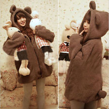 Sweet Lady Girl Winter Warm Cute Panda Ear Coat Hoodie Jacket Outerwear 3Color