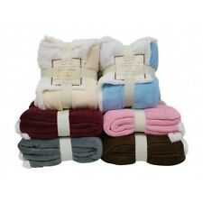 "New Reversible Sherpa/ Microplush Throw Blanket- 50""x 60"""