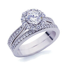 Women 5mm Platinum Plated Silver 1ct CZ Vintage Engagement Ring Bridal Set