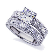 Women 8mm Platinum Plated Silver 1.5ct Princess CZ Engagement Ring Bridal Set